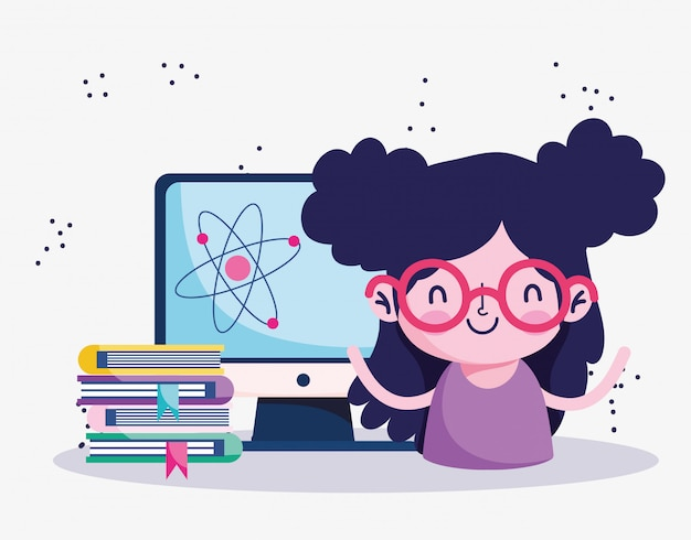 L'éducation en ligne, étudiante avec pile de livres et dessin animé par ordinateur