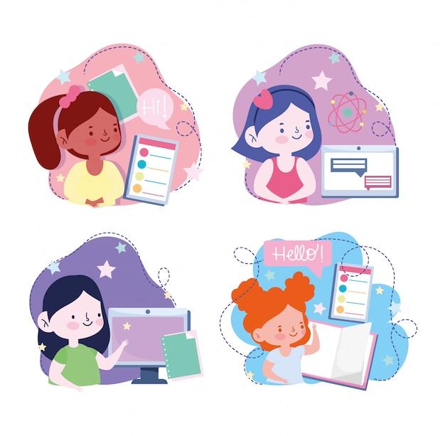 Éducation en ligne, étudiants filles livre informatique smartphone, site web et illustration de cours de formation mobile