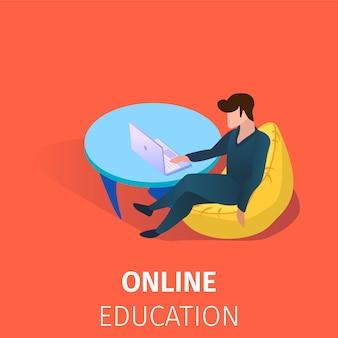 Education en ligne des étudiants utilisant la technologie internet