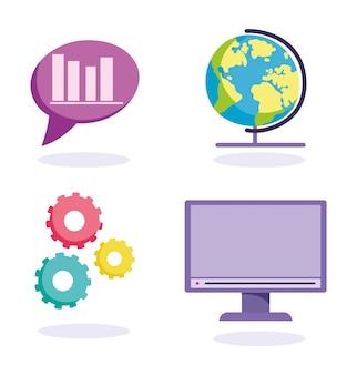 Éducation en ligne, icônes de leçon de statistiques informatiques mondiales