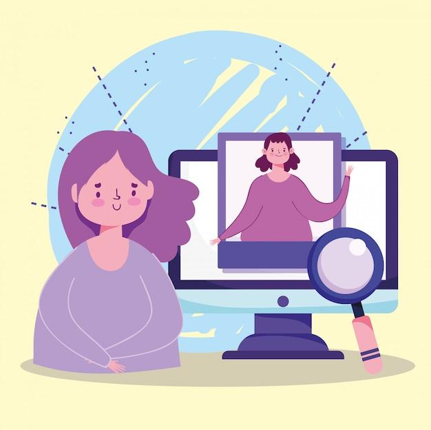 Éducation en ligne, illustration de loupe de leçon d'enseignement informatique des étudiants