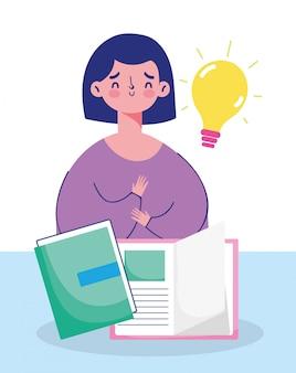 L'éducation en ligne, jeune fille étudiante avec des livres d'apprentissage