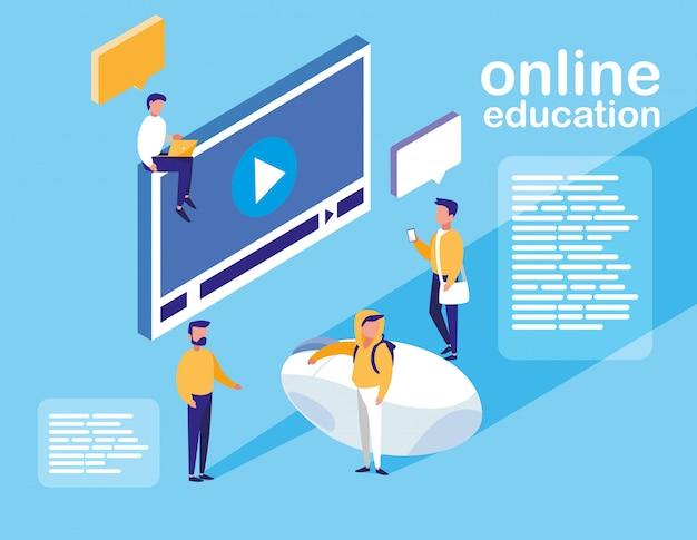 Education en ligne avec lecteur multimédia et mini-personnes