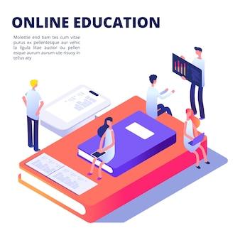 Éducation en ligne avec des livres, des étudiants