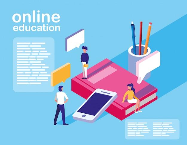 Education en ligne mini personnes avec smartphone et ebooks