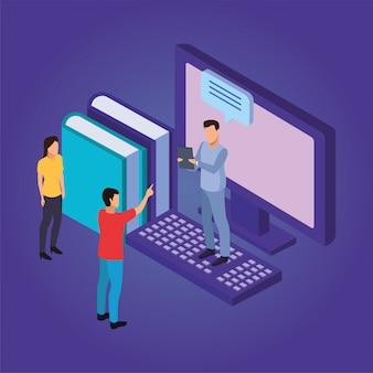 Éducation en ligne avec ordinateur de bureau