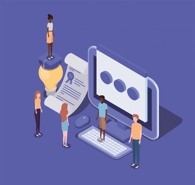 Education en ligne avec ordinateur et mini-personnes
