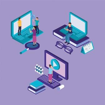 Éducation en ligne avec ordinateur portable et ordinateur de bureau