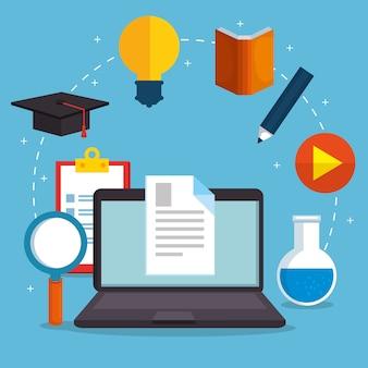 Éducation en ligne avec ordinateur portable