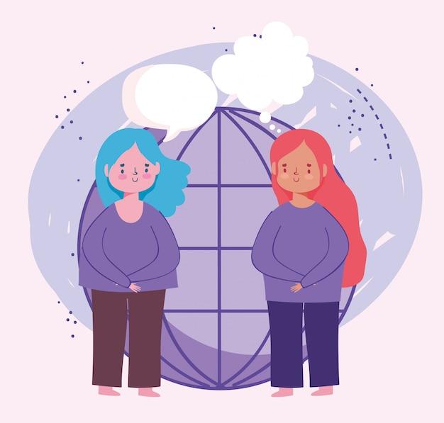 Éducation en ligne, personnages de filles étudiants parlant illustration du monde