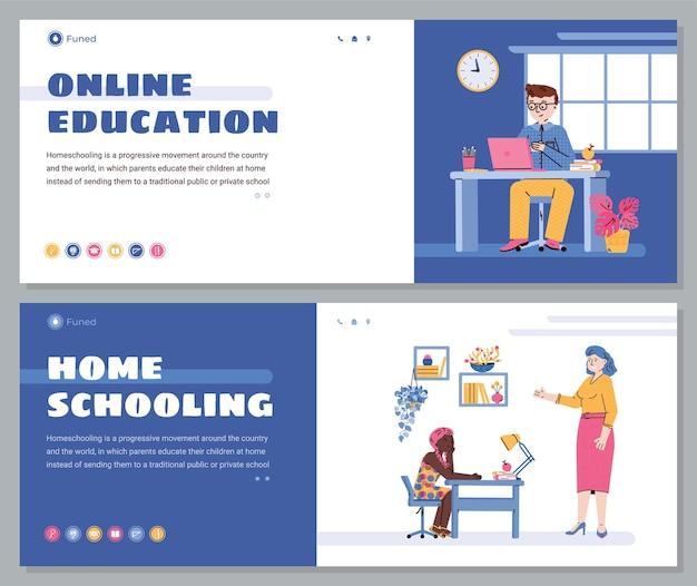 Éducation en ligne pour enfants et bannières web pour l'école à la maison avec des enfants de dessin animé à l'aide d'un ordinateur