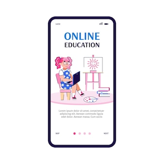 Éducation en ligne pour les enfants vector illustration de dessin animé pour application mobile