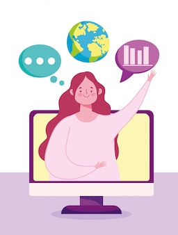 Éducation en ligne, professeur de vidéo sur ordinateur, étudiant en dessin