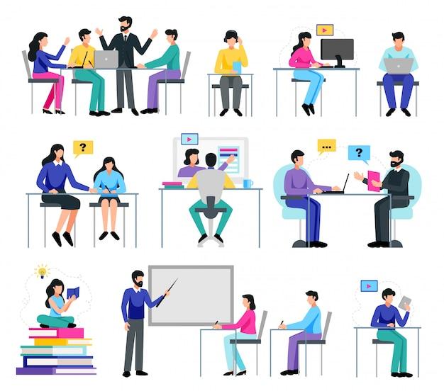 L'éducation en ligne sertie de symboles d'apprentissage plat isolé illustration