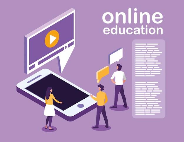 Education en ligne avec smartphone et mini personnes