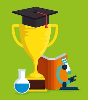 Éducation en ligne avec le trophée