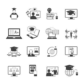 Éducation en ligne vidéo apprentissage icône de graduation numérique set noir isolé illustration vectorielle