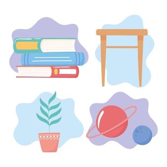 Éducation lire étude science plante table icônes illustration