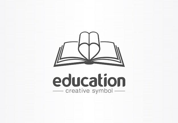 Éducation, livre ouvert avec concept de symbole créatif en forme de coeur. roman, histoire d'amour, idée de logo d'entreprise abstraite affaire. apprenez, lisez l'icône.