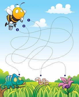 Education maze game bee avec fleur