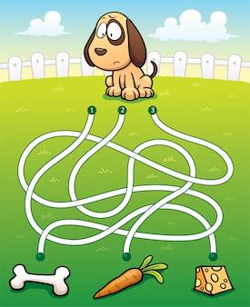 Éducation maze game dog avec de la nourriture
