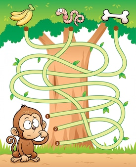 Éducation maze game monkey avec de la nourriture