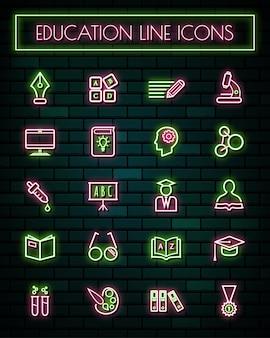 Éducation mince néon rougeoyante ligne icônes définies