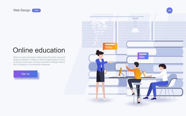 Éducation pour le site web et le modèle de page de destination. éducation en ligne, formation et cours, apprentissage,