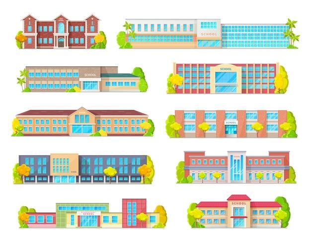 Éducation scolaire bâtiment icônes isolées avec des extérieurs d'école primaire, junior, élémentaire ou primaire avec portes d'entrée, fenêtres et porches, rue et arbres. thèmes d'architecture éducative