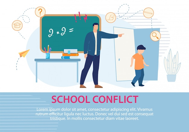 Education scolaire situation conflict poster texte