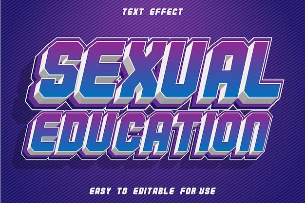 Éducation sexuelle effet de texte modifiable en relief style rétro