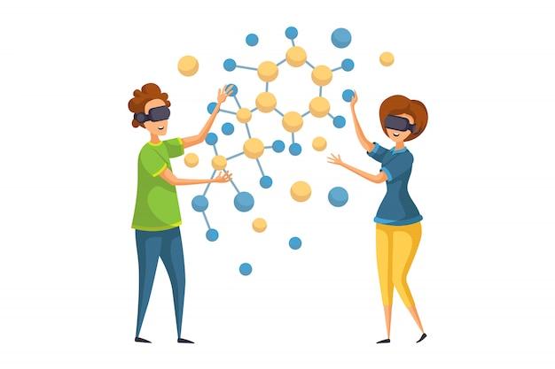 Éducation vr, travail d'équipe, concept d'apprentissage en ligne
