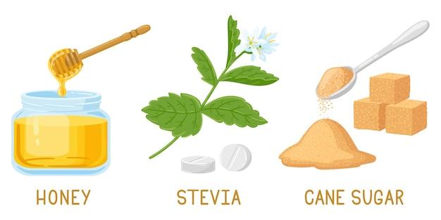 Édulcorants naturels de dessin animé. miel, pilules de stévia et plantes, cubes de sucre de canne brun ensemble d'illustrations vectorielles isolées. édulcorants naturels biologiques. sucre alternatif et sucré, stévia et miel bio