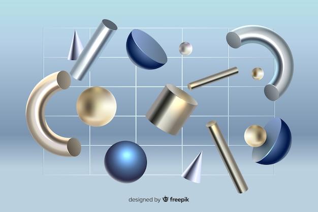 Effet 3d de formes géométriques anti-gravité