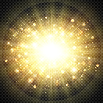Effet abstrait doré lumière du soleil pour élément éclatant de soleil éclaté. illustration vectorielle eps10