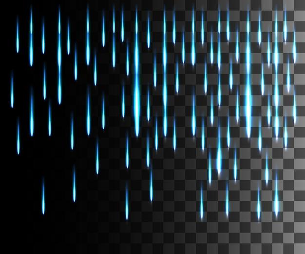 Effet abstrait de ligne rougeoyante. effet pluie. effet de lumière de lignes bleues sur fond transparent.