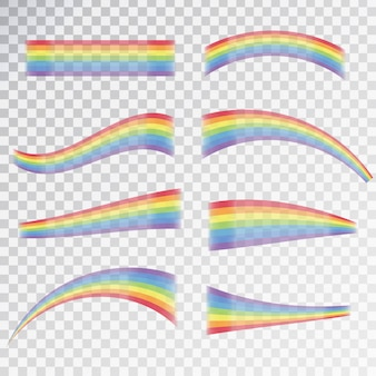 Effet arc-en-ciel réaliste dans différentes formes sur le fond transparent.