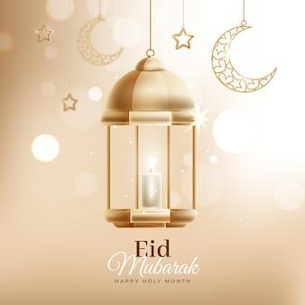 Effet bokeh avec lanterne eid mubarak