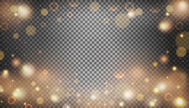 Effet de bokeh lumineux isolé sur fond transparent.