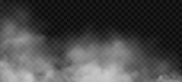 Effet de brouillard blanc ou de fumée sur fond transparent vecteur nuage brouillard nébulosité vapeur