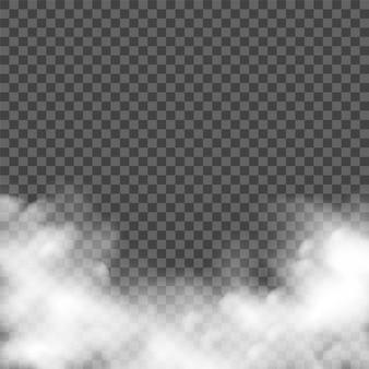 Effet de brouillard de fumée réaliste sur fond sombre.