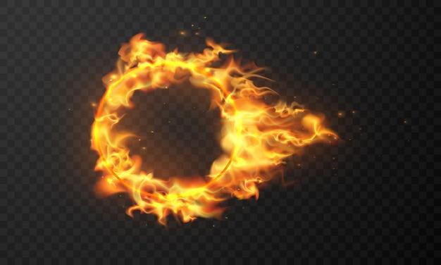 Effet brûlant des étincelles chaudes et magiques des flammes de feu réalistes