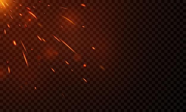 Effet brûlant des étincelles chaudes et rouges flammes de feu réalistes abstrait
