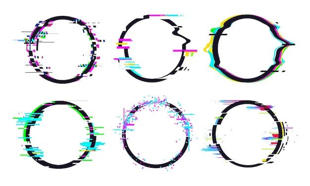 Effet de cadre de cercle de glitch, collection de glitch de cercle moderne, forme et forme géométriques de la télévision numérique. illustration vectorielle