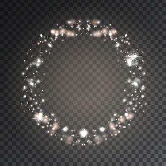 Effet de cadre étoiles scintillantes blanches sur le fond transparent. lumière rougeoyante réaliste pour la décoration.