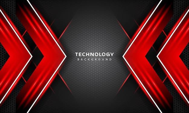 Effet de couches de chevauchement 3d avec décoration lumineuse de couleur rouge. modèle de conception de technologie moderne. toile de fond 3d. illustration vectorielle.
