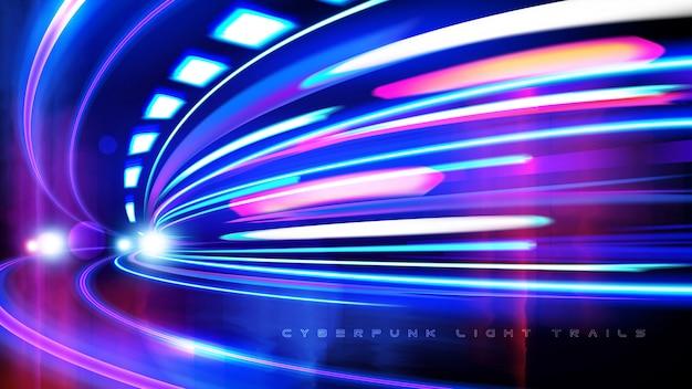 Effet cyberpunk light trails en vecteur