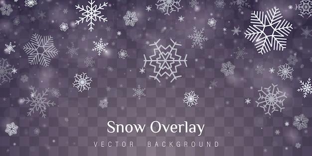 Effet de décoration transparent flocon de neige.