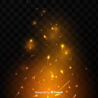 Effet d'étincelles de feu sur fond transparent