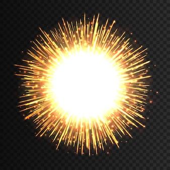 Effet d'explosion de feux d'artifice de lumière transparente